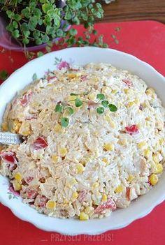 Sałatka makaronowa z kurczakiem, kukurydzą i papryką Falafel, Aga, Fried Rice, Fries, Salads, Cooking, Health, Ethnic Recipes, Food