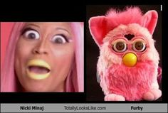 that is so cool she looks like the furrby. Well now we know who taught her how to do makeup
