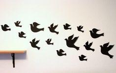 3d Bird wall Art - Black wall art - Paper birds - Bird wall decor - Bird wall Hanging - Living room Decor - Bird decor - Bird nursery decor