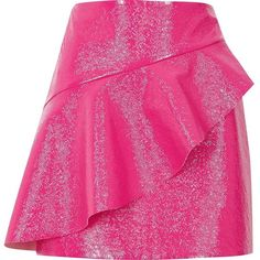 River Island Pink vinyl frill front mini skirt (1.452.160 VND) ❤ liked on Polyvore featuring skirts, mini skirts, pink, women, river island, textured skirt, pink vinyl skirt and mini skirt