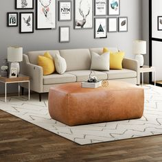 Denver Leather Ottoman in Cognac Tan Leather Cocktail Ottoman, Leather Ottoman Coffee Table, Leather Pouf Ottoman, Leather Sofas, Extra Seating, Foot Rest, All Modern, Modern Living, Living Room Furniture