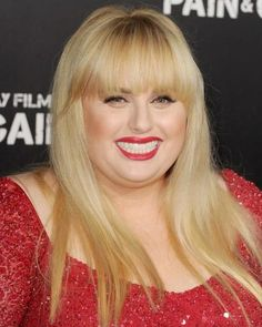 Rebel Wilson proves that blunt bangs work for wide cheeks and round faces.
