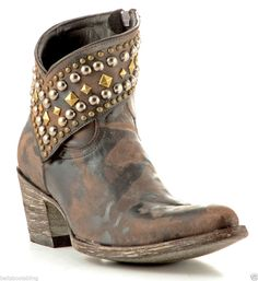 Old Gringo Mini Belinda Brown Leather Studded Ankle Boots  #OldGringo #CowboyWestern