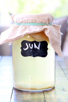 Called the champagne of kombucha, Probiotic Jun Tea is made with raw honey and green tea. It's light, effervescent sweet, and slightly sour.