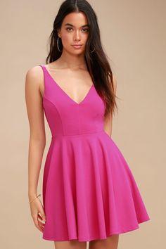 a1686589f1c3 Cute Fuchsia Dress - Skater Dress - Pink Sleeveless Dress Fuchsia Dress,  Magenta, Skater