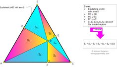 Geometry problem 876: Equilateral Triangle, any Point, Perpendicular, Right Triangle Area, Sum of Areas. Teaching, Learning, School, College, Math Education.