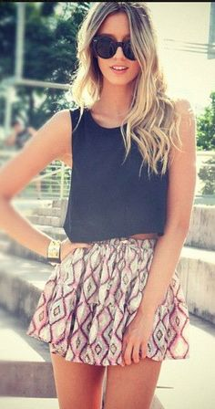 Aztec print skirt and black crop!! Loves it! #fashion #summer #aztec Bliss XO online retailer launching Summer 2013 - On Sale Now