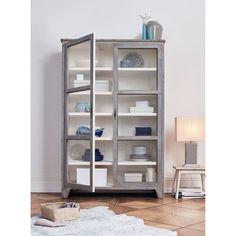 Vitrinenschrank, Used Look Katalogbild - ähnlich Ikea Vitrine refurbished, metall, grau, weiss, holz