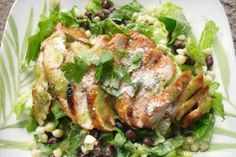 Barbecue Chicken Salad w/Cilantro-Honey-Lime Dressing by themotherhuddle