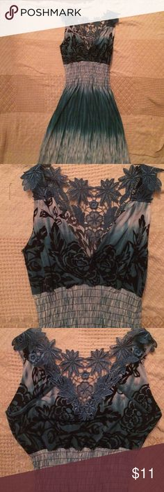 Lace-Back Sundress Tie-dye and lace? Stretch throughout dress. Very good condition. Dresses