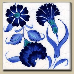 blue and white ottoman carnation tile design