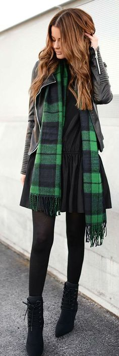 Moto chic. Love the scarf. Would pair well w/ my jacket