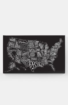 Basic Grey 'Black Tie - US Map' Canvas Wall Art | Nordstrom