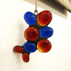 Stained Glass Abstract Red and Blue by paintedlightglass on Etsy, $18.00
