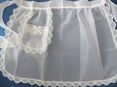 Vintage Frilly Apron Sheer White Apron White Lace by CatBazaar