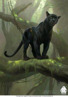 The Jungle Book: Bagheera character design by Michael Kutsche on ArtStation. Big Cats Art, Cat Art, Jungle Book Bagheera, Jungle Book 2016, Black Jaguar, Art And Illustration, Art Illustrations, Wildlife Art, Concept Art