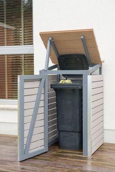 Mülltonnenbox selber bauen: Endzustand mit offenem Deckel und Tür