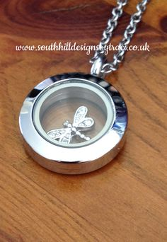 Silver Mini Locket with Dragonfly Charm by Independent Artist and International Recruiter Traci Cornelius www.southhilldesignsbytraci.co.uk