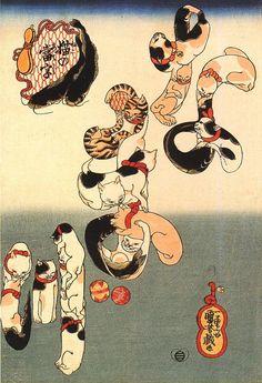 """By Kuniyoshi Utagawa Cat calligraphy """"Namazu (catfish)"""" 歌川国芳「なまず」"""