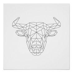 Bull Head Geometric Black & White Modern Art Print Poster