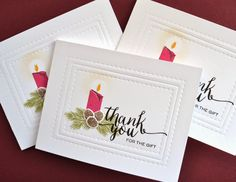 Merry & Bright, Hand Lettered Thanks, Dies: Holiday Apertures: wplus9, dies used for embossing, Stamping and Sharing