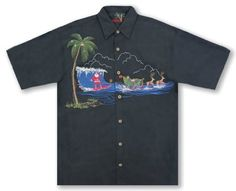 355cc55cb75 Bamboo Cay Men s Christmas Surfing Santa Holiday Hawaiian Shirt