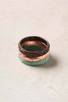Floral Etched Ring Trio