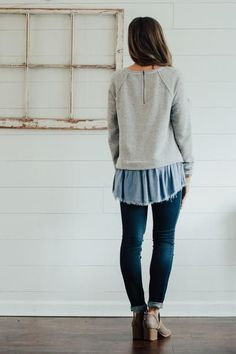 Grey + Chambray Contrast Blouse