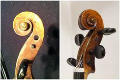 Before and after photos of a restoration. Violin, Baroque, Door Handles, Restoration, Boxes, Modern, Photos, Home Decor, Door Knobs