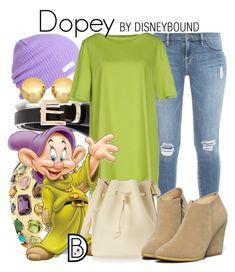 """Dopey"" by leslieakay ❤ liked on Polyvore featuring moda, Frame Denim, Sevil Designs, Charlott, Seaman Schepps, Sophie Hulme, WithChic, disney y disneybound"