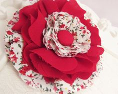 Red Plain Fabric and Floral Fabric Three Layered Fabric Flower with Covered Button Centre, Craft / Home Decor, Kids, Womens Wear – PFTL0086
