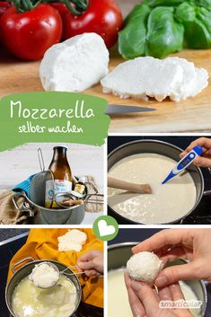 Make real mozzarella yourself - simply without plastic waste - Instead of buyin. Make real mozzarella yourself - simply without plastic waste - Instead of buying mozzarella individually in pla Greek Recipes, Wine Recipes, Vegan Yogurt, Baked Cheese, How To Make Cheese, Cannoli, Diy Food, Vegan Vegetarian, Clean Eating