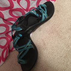 """Women's chacos Love these outdoors shoes so much! They are too small for me now :( so I'm on the hunt for another pair! They are size 7 and fit true to size! (Will definitely wash and dry them before I ship!) they are the style """"river""""!! Very cute! Chacos Shoes Sandals"""