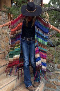 "LONG Handknit Womens Bohemian Festival Hippie Beach Poncho Cape Shawl (""For Kay"")"