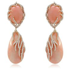 ANGELSKIN CORAL & DIAMOND EAR PENDANTS |