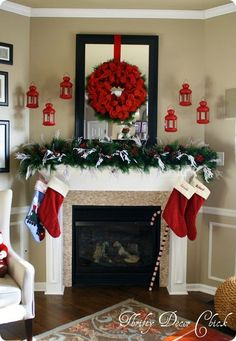 Christmas mantel in RED! by amalia