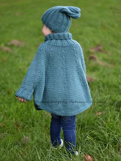Knitting Pattern - Fascination Poncho and Hat Set (All sizes) - Knitting Projects Knitting For Kids, Knitting Yarn, Knitting Projects, Baby Knitting, Knitting Needles, Knitting Patterns Free, Free Knitting, Kids Poncho, Thick Yarn