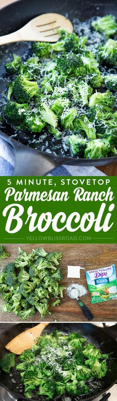 5 Minutes Stovetop Ranch Parmesan Broccoli - took more than 5 minutes and still too crunchy for annalee. Also needed more butter or cooking spray and more ranch. Easy Vegetable Side Dishes, Vegetable Sides, Veggie Dishes, Quick Side Dishes, Tasty Dishes, Side Dish Recipes, Vegetable Recipes, Cooking Vegetables, Cauliflowers