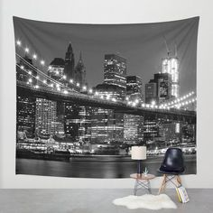 New York wall tapestry/New York tapestry/City tapestry/Night city tapestry/Brooklyn wall tapestry/Black and White wall tapestry/Bridge decor