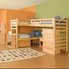 Triple bunk bed :) an awesome idea and space saver!!