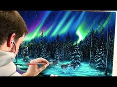 Painting the Northern Lights with Acrylics - YouTube