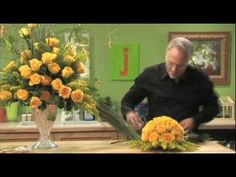 How To Arrange Flowers- Yellow Rose Centerpiece... I would lose the silly lights hanging from willow branches and definitely bypass that monkey grass.