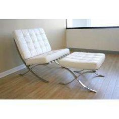Barcelona Pavilion Chair & Ottoman, White Leather