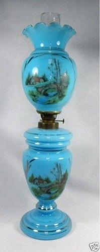 Antique Blue Bristol Glass Tall Banquet Parlor Oil Lamp   eBay