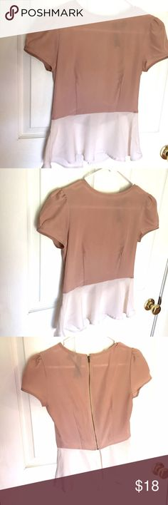 listing! Petticoat Alley Blouse XS Pretty nude blouse with a cream peplum from Petticoat Alley. Zips up the back. Size XS Petticoat Alley Tops Blouses
