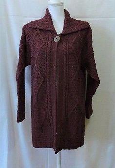 NWT Carraig Donn Women Maroon 100% Wool Cardigan Size M