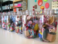 organization: store craft supplies in jars