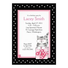 Cute Gray Kitten 5x7 Pink Birthday Invitation