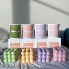 Cute Candles, Pastel Room, Candle Packaging, Candle Containers, Handmade Candles, Decorative Candles, White Gift Boxes, Candle Wax, Bedroom Decor