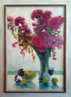 'Red Flowers with Fruit' by XFG, oil on canvas. Available.